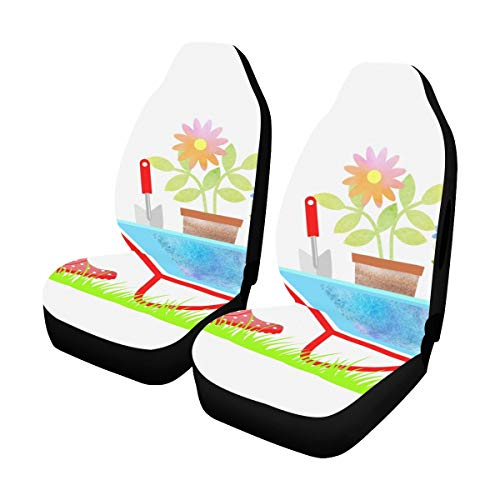 Car Cover XL Gardening Wheelbarrow Flowers Fun Seat Covers 2 Pcs Universal Fit Airbag Compatible for for Car SUV Auto Truck Waterproof Car Cover