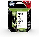 HP 304 Multi Pack 3JB05AE Confezione da 2 Cartucce Originali per Stampanti HP DeskJet serie 2620 e 2630; HP Deskjet serie 3700 e HP ENVY serie 5010, 5020 e 5030, Nero e Tricromia