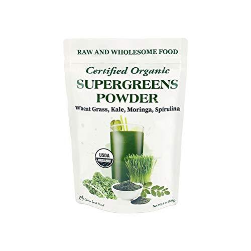 Supergreens Superfood Powder (Wheat Grass, Kale, Moringa, Spirulina), 34 Servings, Organic (6 oz)