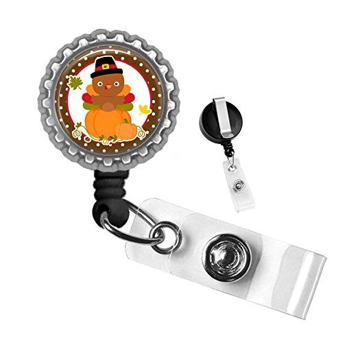 Thanksgiving Turkey & Pumpkin Silver Retractable ID Tag Badge Reel by Geek Badges
