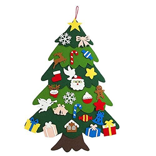 Fieltro árbol de Navidad con Adornos de Puerta 25 Desmontable Colgar de la Pared Decoraciones de Navidad niños