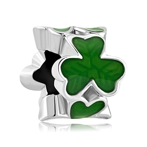 Uniqueen - Abalorios de trébol de tres hojas verdes para pulseras