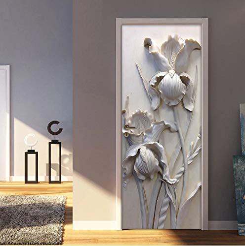 JUZHIJIA Self-adhesive Removable Door Sticker Wall Decals 3D Stereoscopic Grey Flowers PVC Waterproof Door Mural Art Vinyl Wallpaper Roll