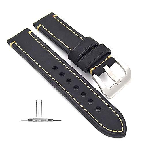 omyzam Herren Uhrenarmband 22mm,Leder Uhrenband,Ersatz-Watch Armband mit Dornschließe aus Edelstahl,Männer und Frauen Uhren Zubehör Geeignet für Eine Vielzahl Traditioneller Sportuhren Schwarz