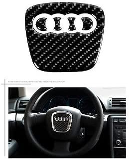 Boobo AD-80CB Carbon Steering Wheel Insert Emblem Badge Cover Logo Sticker for Audi (80mmx78mm)