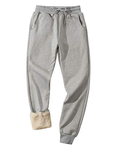 Gihuo Men's Winter Fleece Pants Sherpa Lined Sweatpants Active Running Jogger Pants (Light Grey, Large)