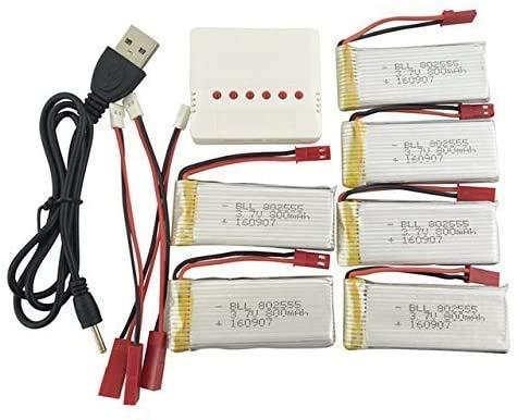 ZYGY 6pcs 3.7V 800mah Lipo Batteria e 6in1 Caricatore per JJRC H12C H12 V636 V686 V686G V686J V686K JXD 509G 509V RC Drone