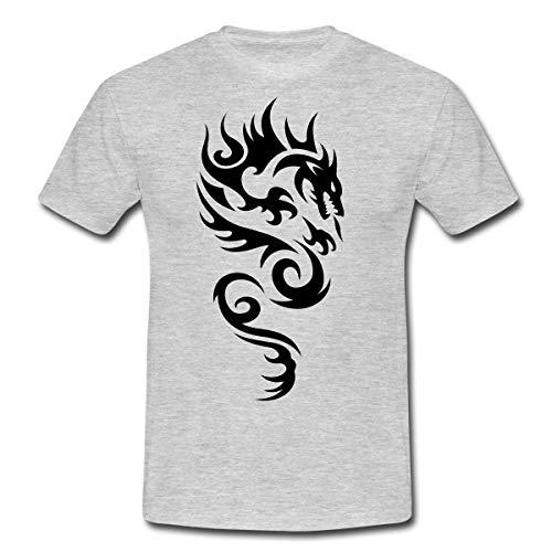 Tribal Dragon Drachen Drache Tattoo Mystisch Männer T-Shirt, S, Grau meliert