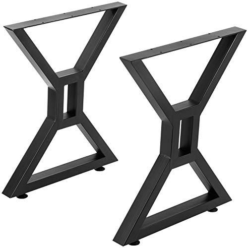 VEVOR Dining Table Legs 28 inch, Metal Table Legs 2PCs, Hollow X-Shaped Legs 440 Lbs Load Capacity DIY Coffee Table Legs Black Anti-Rust Iron Office Table Legs with Baking Varnish for Dining Table