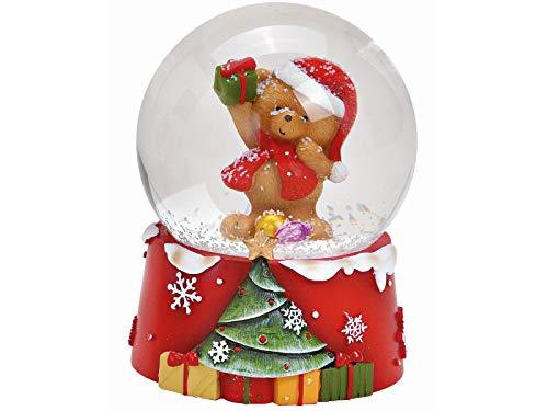 Schneekugel Bär mit Weihnachtsmütze auf Motiv Sockel mit süßen Details aus Glas und Poly - Weihnachtsdeko Winterdeko - tolles Mitbringsel (bunt) Ø 6 x Höhe 5cm (mit Geschenk, Ø 6 x Höhe 9cm)