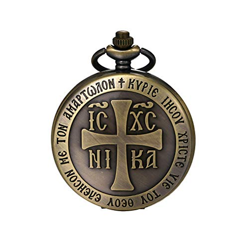 JewelryWe Taschenuhr Herren Vintage Religiös Christian Kreuz Analog Quarz Uhr mit Halskette Kette Uhranhänger Pocket Watch