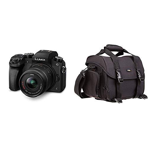 Panasonic LUMIX G DMC-G70KAEGK Systemkamera mit Objektiv H-FS14042E schwarz & AmazonBasics - Große L Umhängetasche für SLR-Kamera und Zubehör, schwarz mit orange Innenausstattung