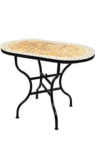 ORIGINAL Marokkanischer Mosaiktisch Gartentisch 100x60cm Groß eckig klappbar | Eckiger klappbarer Mosaik Esstisch Mediterran | als Klapptisch für Balkon oder Garten | Marrakesch Beige Weiß 100x60cm