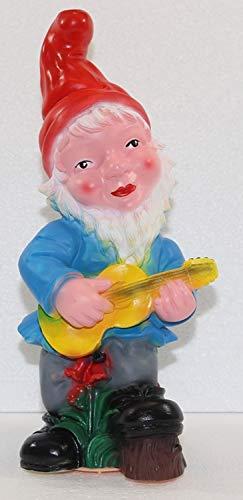 OM Gartenzwerg Garten Zwerg mit Gitarre und Scherzbewegungsmelder Happy Birthday aus Kunststoff Höhe 33 cm