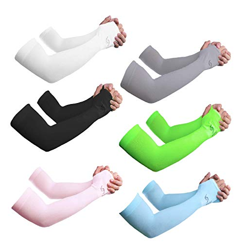 Sportout UV Protection Cooling Arm Sleeves,Longer Sun Sleeves Perfect for Basketball,Baseball,Running,Fishing,Arm Sleeves Tattoo for Men and Women with Multiple Colour,6 Pairs (Colorful-6)