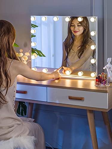 LUXTURNA Hollywood espejo de tocador de escritorio con luz de atenuación USB, control táctil, luz diurna/cálida(Grande)