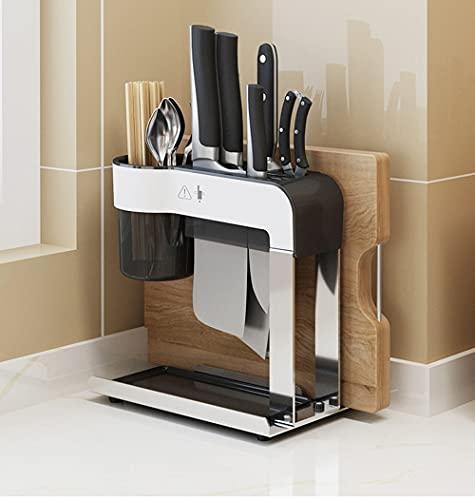 MYGZFF Rack de almacenamiento, Tabla de cortar de acero inoxidable Tabla de cortar Cuchillo, Rack de encimera, Titular de cuchillo de jaula de palillos, Titular de la cuchilla del soporte de la cuchil