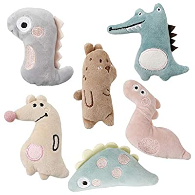 FANTESI 6 Pcs Cat Catnip Toys, Interactive Cat Toys Cartoon Catnip Chew Toys Soft Plush Cat Pillow Entertaining Toys for Pet Kitten Cat Playing Chewing Grinding Claw Teeth Cleaning