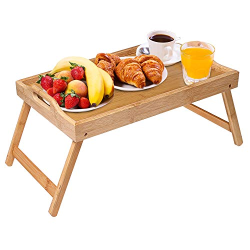 JUPAI Bamboo Breakfast Tray Table with Foldable Legs, Breakfast Serving Tray, Dinner Tray, Portable Bed Tray for Eating and laptops, Using for Sofa, Bed, Eating