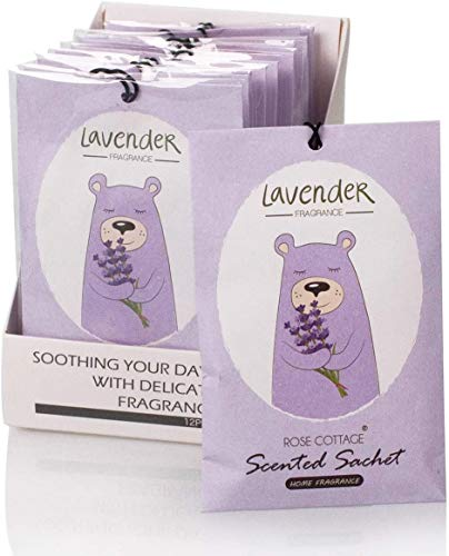 Rose Cottage 12Packs Lavender Closet Air Freshener Deodorizer Scented Sachets Bags for Drawer and Closet,Sachets for Weddings