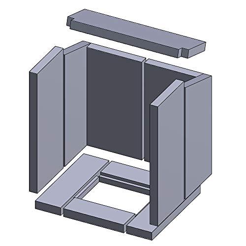 Kaminofen Vermiculiteplatten passend für Hark 48 (ab 04/2006), 48N, 53 & ALERO 1 & ALERO 2 & OPOS (04/2006-04/2009), Magnum, Montero - Set 11-teilig Feuerraumauskleidung