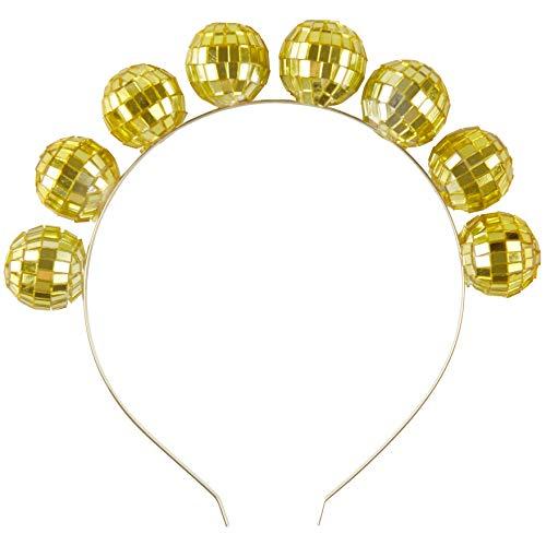 Coucoland Damen 1980s Discokugel Haarrreif Retro 80s Disco Motto Party Stirnband Haarband Damen Fasching Kostüm Accessoires (Gold)
