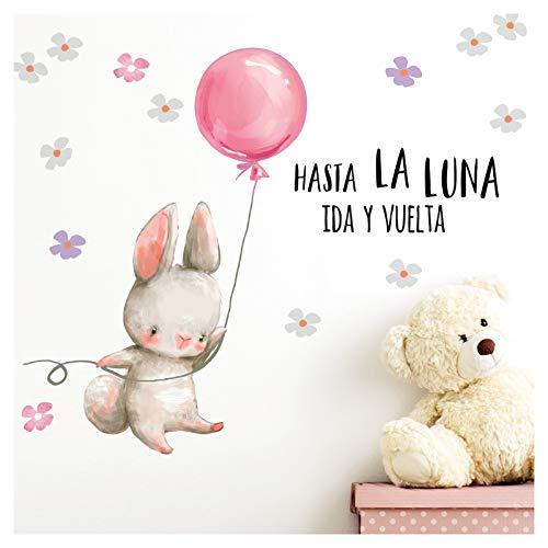 Little Deco Wandtattoo Babyzimmer Hase & Spruch Hasta La Luna I 95 x 55 cm (BxH) I Luftballon Rosa Kinderbilder Deko Kinderzimmer Mädchen Aufkleber Sticker DL259