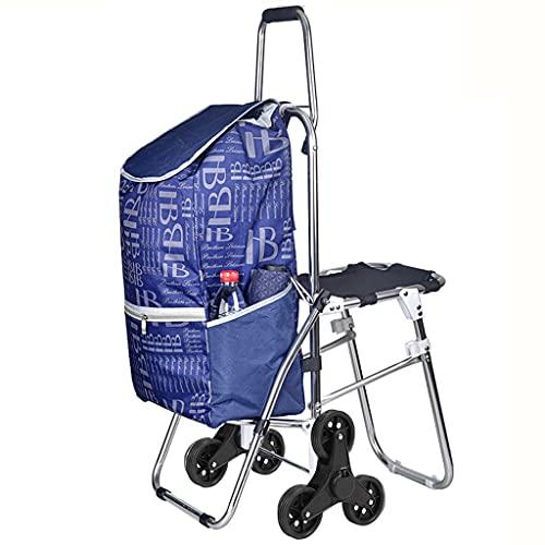 WHL Carrito de Compras Plegable Portátil Portátil Pastel Fácil Metal Marco de Metal Escalador Carreros de Compras con Bolsa de comestibles removible (Color : Blue)