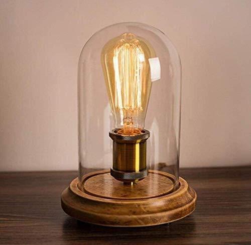 L.W.S Lámpara de Escritorio Lámpara de Mesa ático lámpara de Mesa Retro de Madera Maciza café nórdico mesita de Noche Pantalla de Vidrio Accesorio de iluminación, Cobre, a