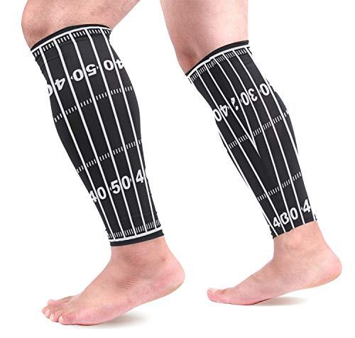 hdyefe American Football Field Black Calf Compression Sleeves Schienbeinschoner Beinschutz Wadenschmerzlinderung beim Laufen, Cycli