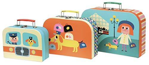 Vilac Vilac7711 3 Cardboard Suitcases Set, Multi-Color