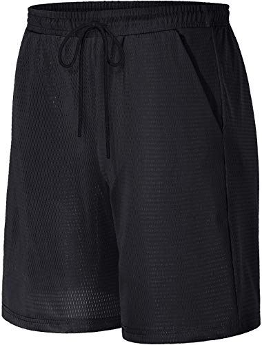 Kimmery Basketball Shorts for Men,Light Weight Wide Waistband Double Layers Performance Short Pants with Pockts Summer Volleyball Soccer Baseball Sportwear Black M
