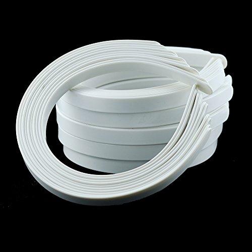 50PCS Amersumer 1 2  Girls Plain No Teeth DIY Plastic Headbands Headwear Hair Accessories (Black) (WHITE)