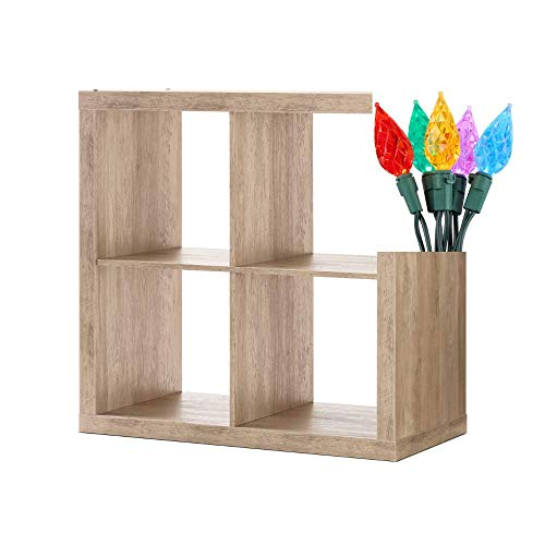 Better Homes and Gardens Bookshelf Furniture Square Storage Cabinet Cube Organizer Bookcase with Christmas Lights Bundle, 4-Cube, Rustic Gray