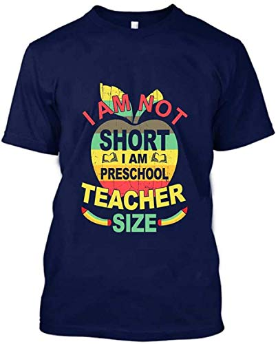 Kaured Hombre's T Shirt I Am Not Short I Am Preschool Teacher Size Vintage Custom T Shirt