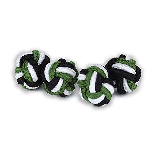 Seidenknoten Manschettenknöpfe | Knoten | Schwarz-Weiß-Grün | Stoff Seidenknötchen | Handgefertigt | Für jedes Hemd mit Umschlagmanschette Manschette