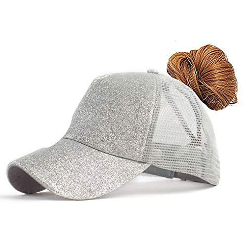 FGSS Adjustable Ponytail Messy Buns Sequined Baseball Hat Silver