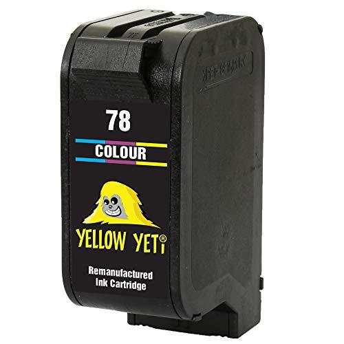 Yellow Yeti Remanufacturado 78 Cartucho de Tinta Color para HP Deskjet 3810 3820 815c 916c 920c 940c 948c Officejet 5105 5110 V30 V40 V45 PSC 2120 700 720 750 760 900 950 Copier 310 Fax 1230