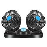 BOYO Ventilatore Auto Doppia Testa 12V,Ventilatore Doppio per Auto Rotazione a 360 ° a 2 velocità Adatto per Tutte Le Auto a Fmiliari o con Presa Accendisigari da 12VDC