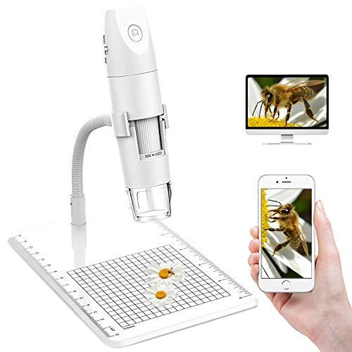 HALOVIE WiFi Digitalmikroskop 1080P USB Vergrößerung Mikroskop Kamera Mini-Handmikroskop 50x -1000x Drahtloses Digitales Mikroskop mit 8 LED Digitalmikroskop für Android iPhones Tablets Windows Mac