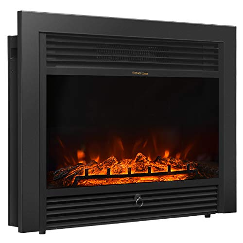 """Giantex 28.5"""" Electric Fireplace Insert Recessed Mounted with 3 Color Flames Adjustable, 750/1500W Wall Fireplace Electric with Remote Control, Standing Fireplace Heater"""