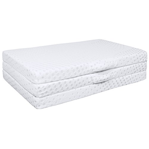 Best Choice Products Portable 3in Twin Size Tri-Folding Memory Foam Gel Mattress Topper w/ Removable Cover