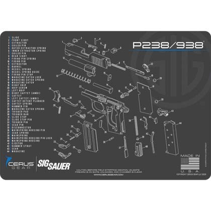 EDOG P 238 Gun Cleaning Mat - Schematic (Exploded View) Diagram Compatible with Sig Sauer P238 / 938 Pistol 3 mm Padded Pad Protect Your Firearm Magazines Bench Table Surfaces Oil Solvent Resistant