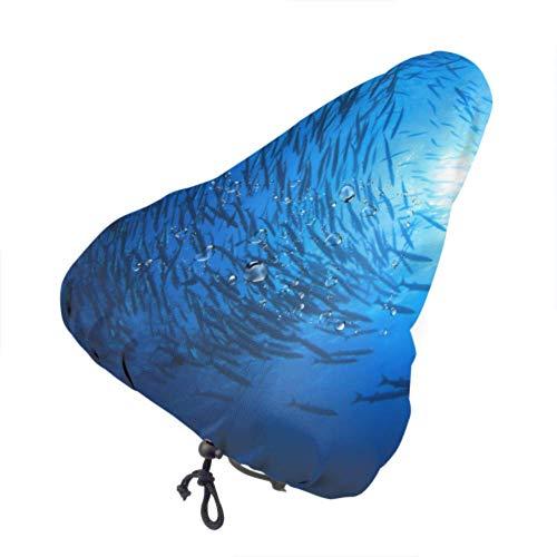 Asiento de bicicleta infantil Cubierta de lluvia Barracuda School Fish Scuba Divers Fundas de asiento para exterior Fundas de asiento para niña con cordón, resistente a la lluvia y al polvo para la m