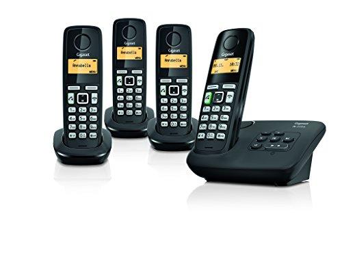 Gigaset al225a Quattro–Teléfono inalámbrico (3,4cm (1,4pulgadas) pantalla de gráficos, integr. Contestador automático, identificación de llamada, Eco DECT/GAP, incluye 4terminales) Negro