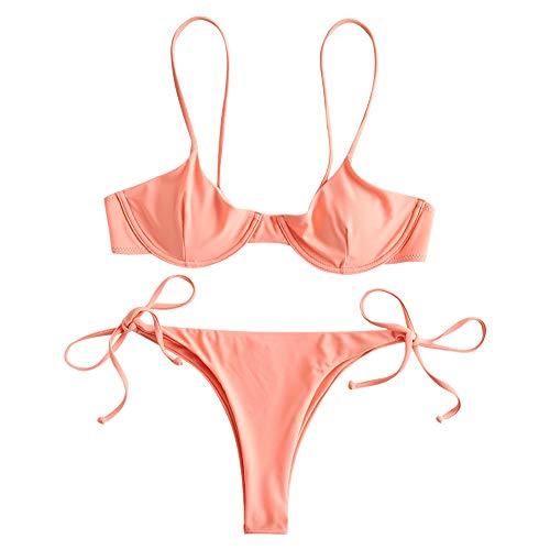 ZAFUL - Conjunto de bikini para mujer con aros push up salmón L