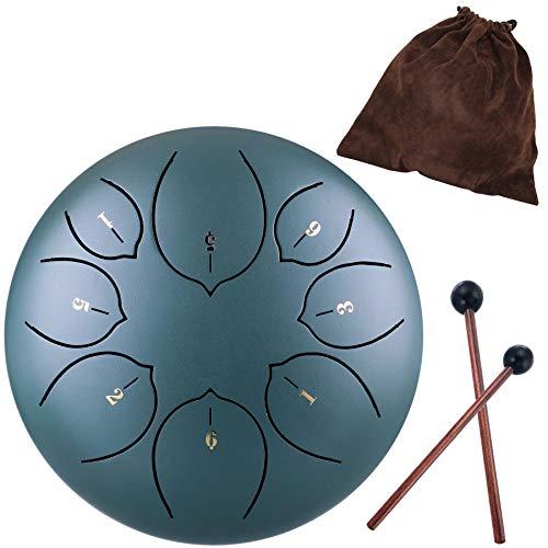 Steel Tongue Drum – 8 Töne, 15,24 cm (6 Zoll) – Schlaginstrument – Handpantrommel mit Tasche, Musikbuch in englischer Sprache, Schlägel, Fingerhülsen
