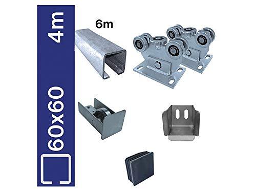 Bodenführung-Set 60x60mm Bausatz Laufwerk freitragend, für Schiebetor L 4m