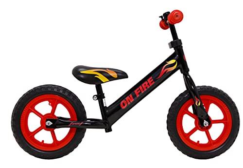 Bicicleta de carreras Amigo On Fire de 12 pulgadas, para niños de 2 a 4 años, con marco de acero, manillar ajustable, tija de sillín ajustable y neumáticos neumáticos, hasta 30 kg, color negro