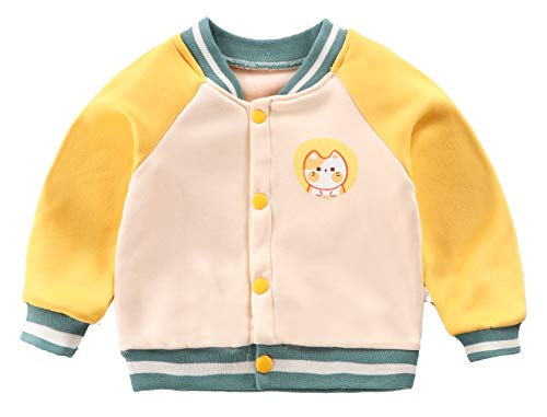 Girls/Boys Slim Fit Varsity Baseball Jacket Bomber Cotton Premium Jackets Outerwear 18-24 Months Yellow Cat